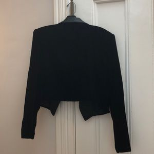 Oleg Cassini Jackets & Coats - Black velour satin trimmed cropped jacket